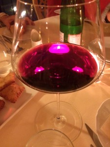 The ever-present wine glass in Italy. At our dinner table at Ca' Matilde.