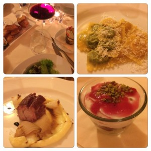 A culinary collage of the other dinner courses at Ristorante Locanda.