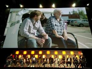 Gareth Edwards living his directing dream and it hits him, while sitting next to George Lucas on the set of Rogue One.